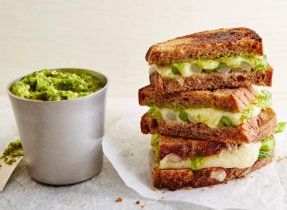 Grilled Swiss cheese sandwich with asparagus
