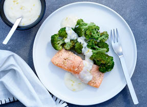 Roasted Salmon and Broccoli with Lemon Parmesan Sauce