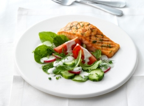 Grilled Salmon with Feta & Cream Dressing