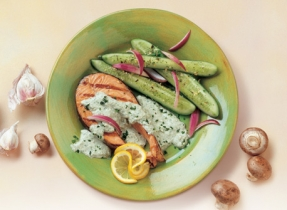 Grilled Salmon with Avocado Herb Sauce
