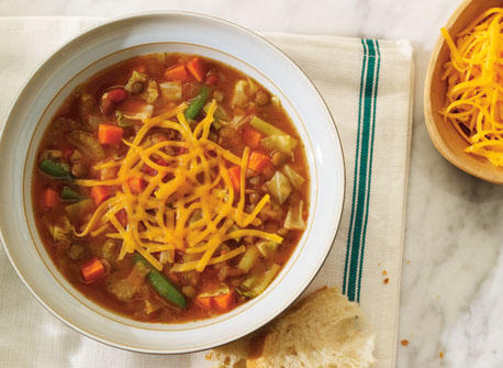 Hearty lentil, pesto and Colby soup Recipe