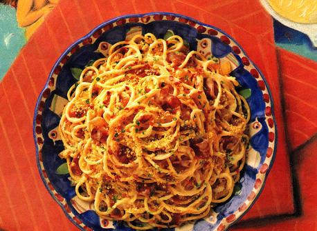 Spaghetti with Crispy Bacon and Cheese Sauce Recipe