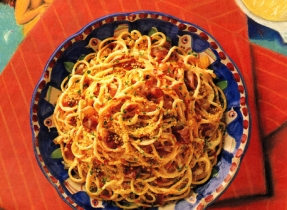 Spaghetti with Crispy Bacon and Cheese Sauce