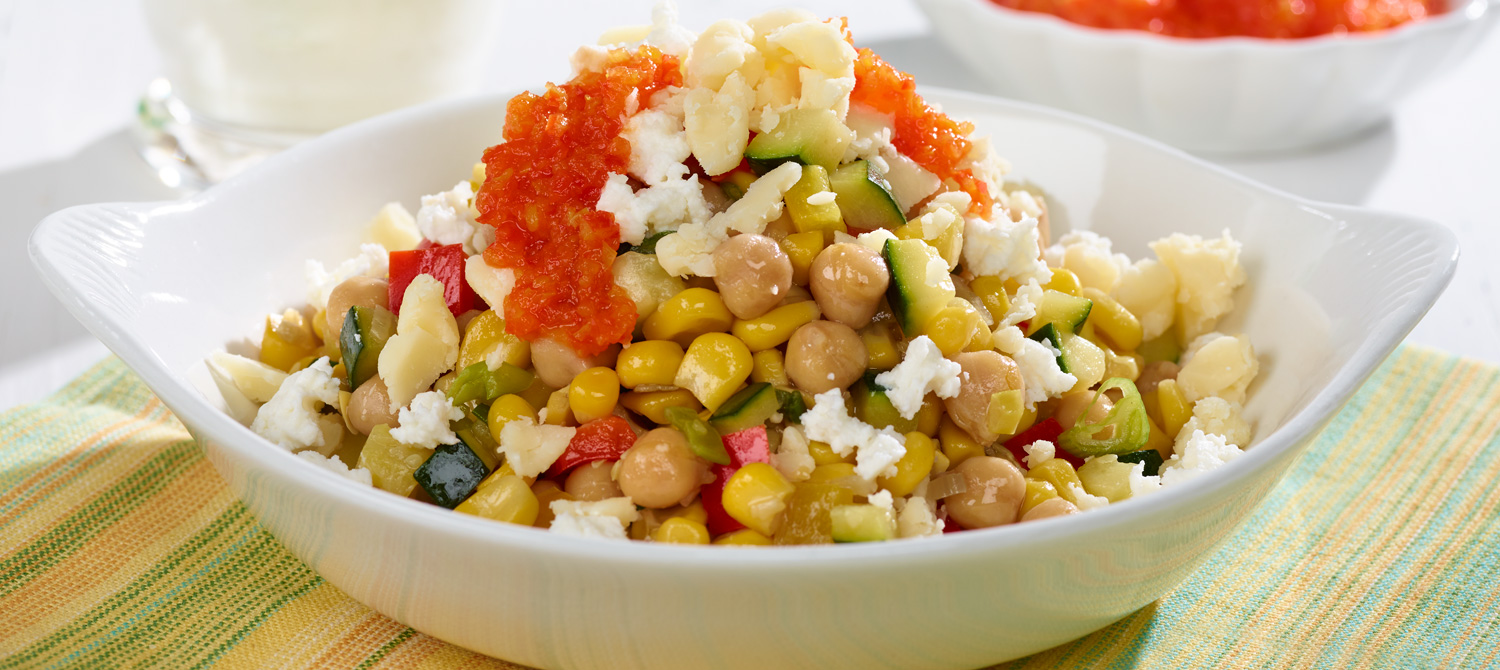 Corn & Squash Succotash with Canadian Cheese and Bell Pepper Jam ...
