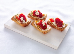 Boursin®, roasted pepper and chorizo tapas