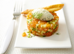 Melon and Mascarpone Salmon Tartare