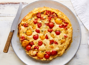 Provolone-tomato tarte Tatin
