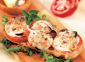Grilled Bocconcini and Tomatoes on Panini